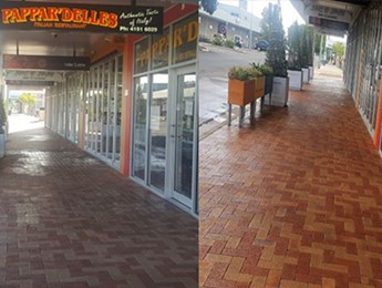 Footpath cleaning of a small retail complex