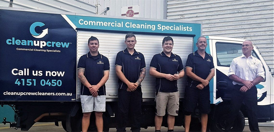 Cleanupcrew are commercial cleaners and this is a picture of our Bundaberg team
