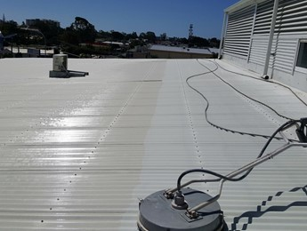 Cleaning the roof of a commercial building