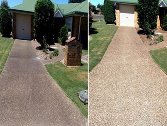 Before and after of concrete driveway cleaning